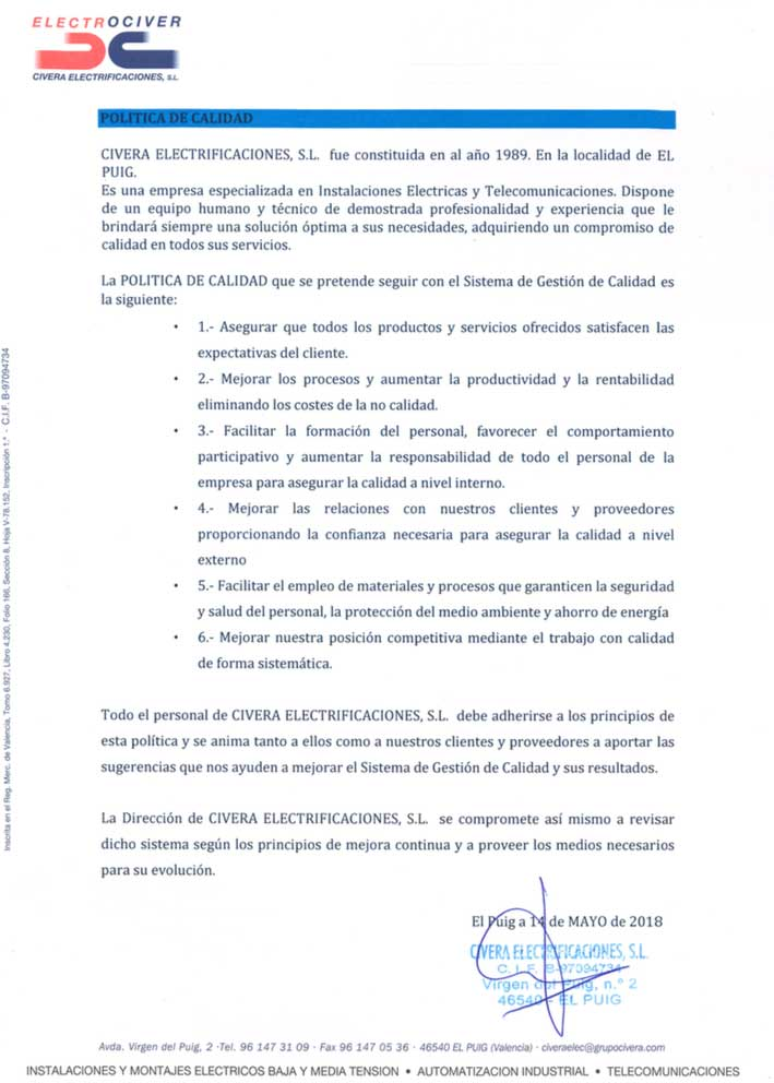 politica-de-calidad-Civera-Electrificaciones